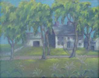 Painting by Natalie Hays Hammond: Farmhouse in Ipswich, Massachusetts, represented by Childs Gallery