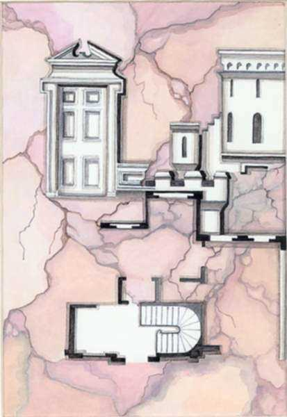 Watercolor by Natalie Hays Hammond: I dreamt I dwelt in Marble Halls, no. 2 in Dreams series, represented by Childs Gallery
