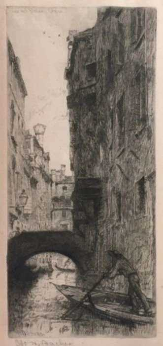 Print by Otto Bacher: Ponte del Pistor, Venice, represented by Childs Gallery