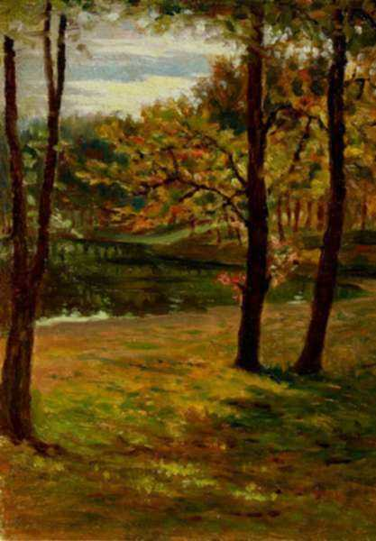 Painting by Otto Heinigke: [Lakeside Trees], represented by Childs Gallery