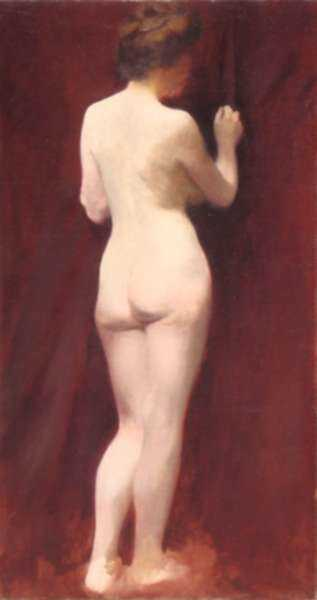 Painting by Otto Heinigke: Standing Female Nude, represented by Childs Gallery