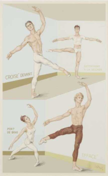 Print by Paul Cadmus: Four Ballet Positions, represented by Childs Gallery