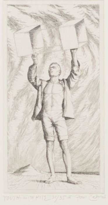 Print by Paul Cadmus: Youth with Kite, represented by Childs Gallery