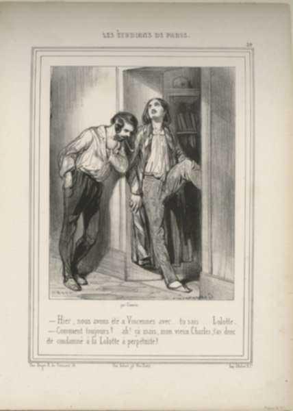 Print by Paul Gavarni: Hier, nous avons ete a Vincennes avec...tu sais...Lolotte., represented by Childs Gallery