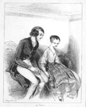 Print by Paul Gavarni: Ma tante Amélie dit que t'es bien gentil! [My aunt Amelie sa, represented by Childs Gallery