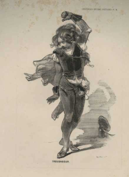 Print by Paul Gavarni: Troubadour, represented by Childs Gallery