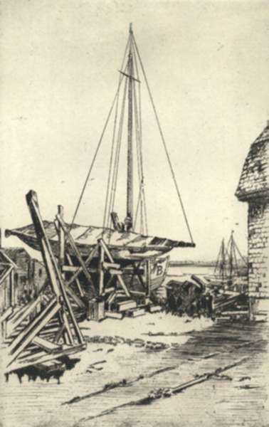 Print by Paul Lameyer: Camden, Maine, Boatbuilders Yard, represented by Childs Gallery