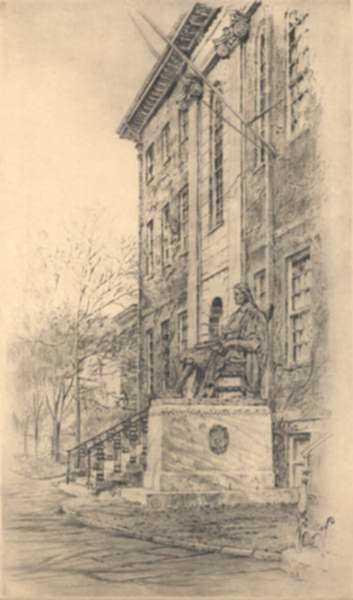 Print by Paul Lameyer: Statue of John Harvard [Harvard University, Cambridge, Massa, represented by Childs Gallery