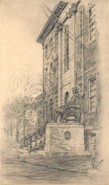 Print by Paul Lameyer: Statue of John Harvard [Harvard University, Cambridge, Massa, represented by Childs Gallery