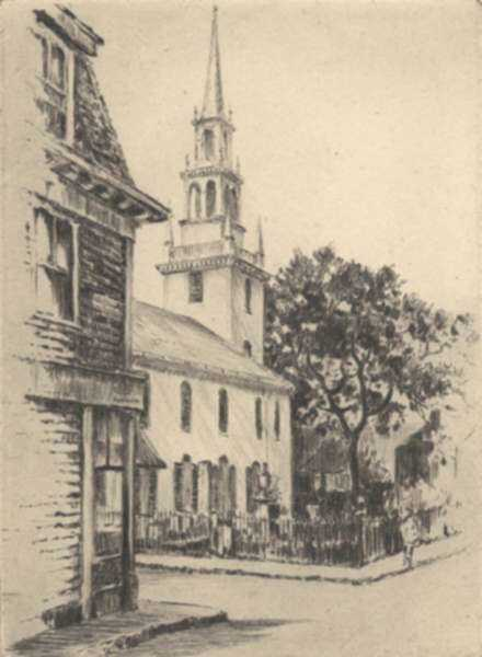 Print by Paul Lameyer: Trinity Church, Newport, Rhode Island, represented by Childs Gallery