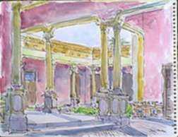 Watercolor by Paul Parker: Atrium, Merida, Mexico, represented by Childs Gallery