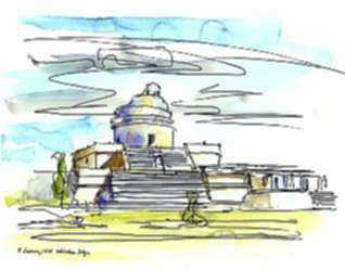 Watercolor by Paul Parker: Chichen Itza, Mexico, represented by Childs Gallery