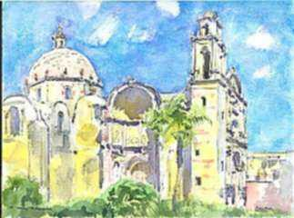Watercolor by Paul Parker: Cuernavaca, Mexico, represented by Childs Gallery