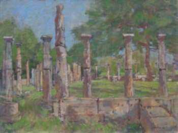 Painting by Paul Parker: Greek Ruins, represented by Childs Gallery