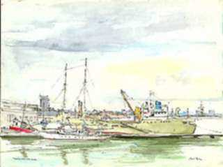 Watercolor by Paul Parker: Harbor, San Juan, Puerto Rico, represented by Childs Gallery