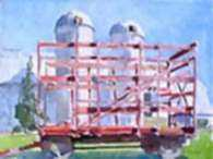 Watercolor by Paul Parker: Humphry Farm, Clinton, New York, represented by Childs Gallery