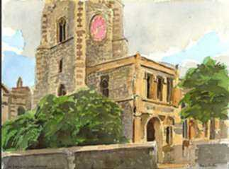 Watercolor by Paul Parker: Norwich, England, represented by Childs Gallery