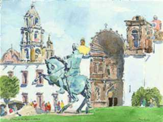 Watercolor by Paul Parker: San Miguel de Allende, Allende, Mexico, represented by Childs Gallery