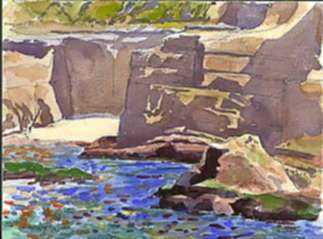 Watercolor by Paul Parker: Sea and Rocks, La Jolla, California, represented by Childs Gallery