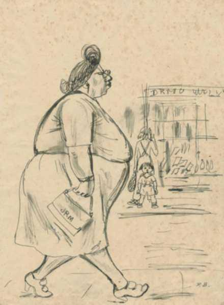 Drawing by Peggy Bacon: [Woman Walking], represented by Childs Gallery