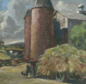 Watercolor by Peter Clarence Helck: Hay Wagon with Silos, represented by Childs Gallery