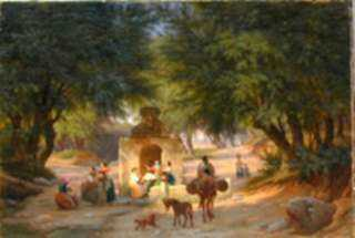 Painting by Peter Raadsig: Italian Peasants Around an Ancient Well, represented by Childs Gallery