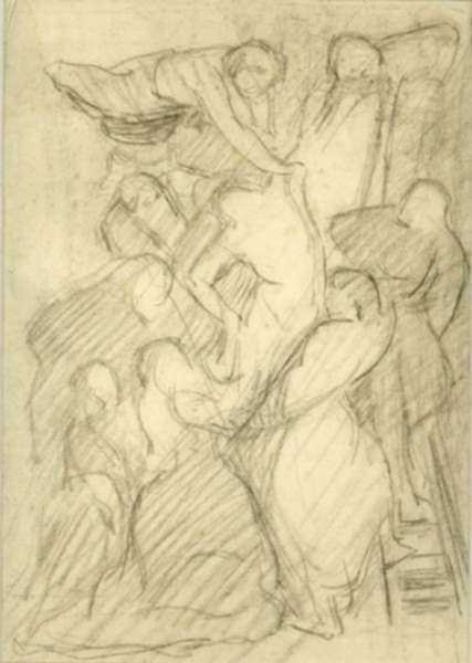 Drawing by Philip Leslie Hale: [Descent from the Cross], represented by Childs Gallery