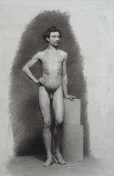 Drawing by Pietro Gabrini: [Standing Male Nude], represented by Childs Gallery