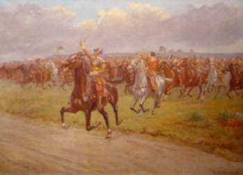 Painting by R. Caton Woodville, Jr.: At the Trumpet's Call, Marston Moor, July 2, 1644, represented by Childs Gallery