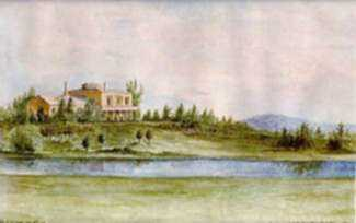 Watercolor by R. Durivage: View of Eldridge House, East Woburn, MA, represented by Childs Gallery