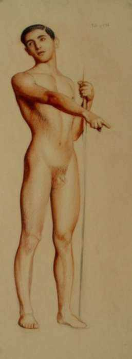 Drawing by R.H. Ives Gammell: [Figure Study, Man with Staff], represented by Childs Gallery