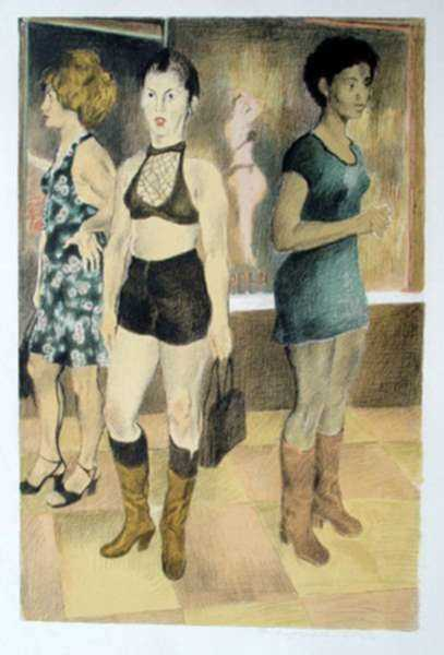 Print by Raphael Soyer: Eighth Avenue, represented by Childs Gallery