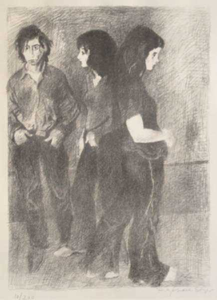Print by Raphael Soyer: Flower Children, represented by Childs Gallery