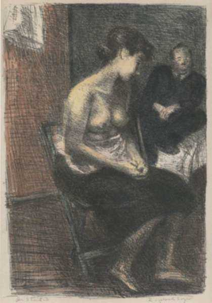 Print by Raphael Soyer: In Studio, represented by Childs Gallery