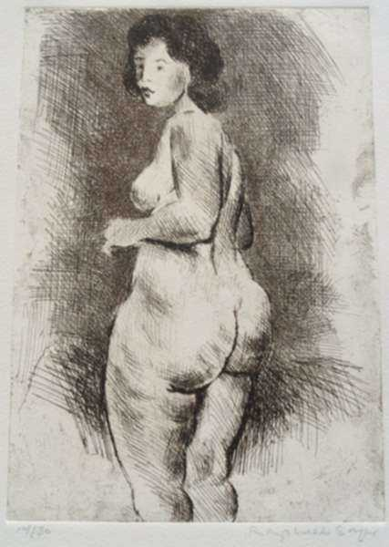 Print by Raphael Soyer: Nude, represented by Childs Gallery