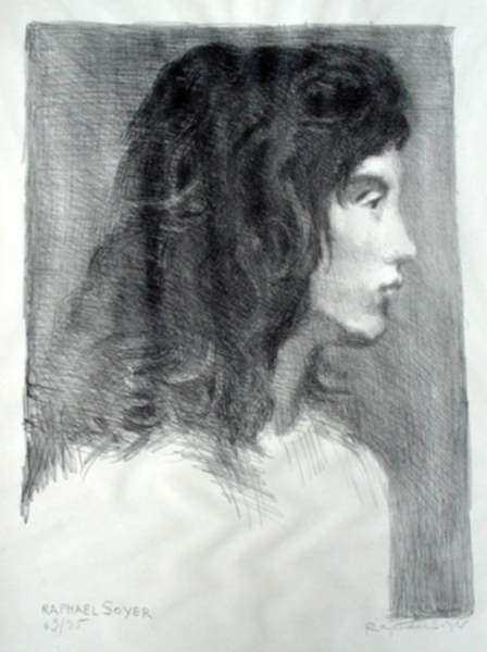 Print by Raphael Soyer: Portrait of Cynthia, represented by Childs Gallery