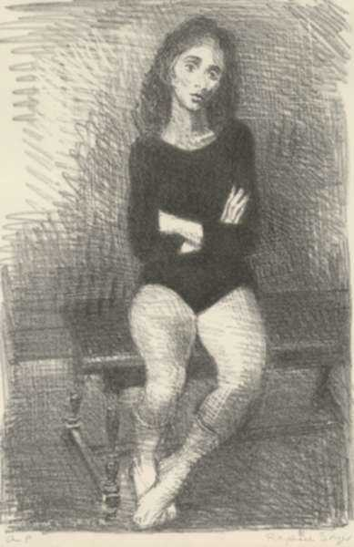 Print by Raphael Soyer: The Dancer, represented by Childs Gallery
