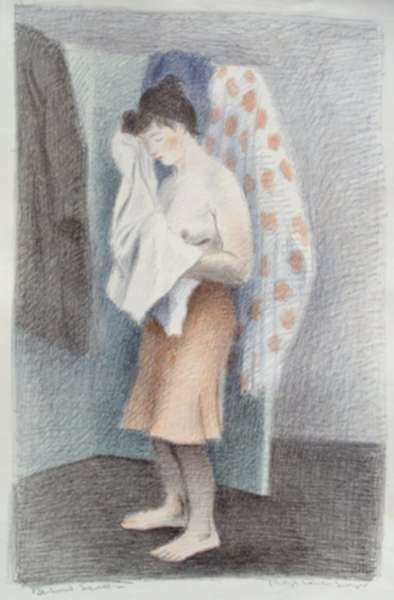 Print by Raphael Soyer: Young Woman Drying Herself, or Behind Screen, represented by Childs Gallery