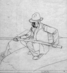 Drawing by Robert Austin: A Fisherman - Majorica, represented by Childs Gallery