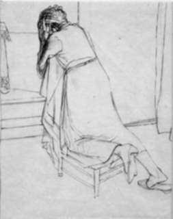 Drawing by Robert Austin: Woman Praying, represented by Childs Gallery