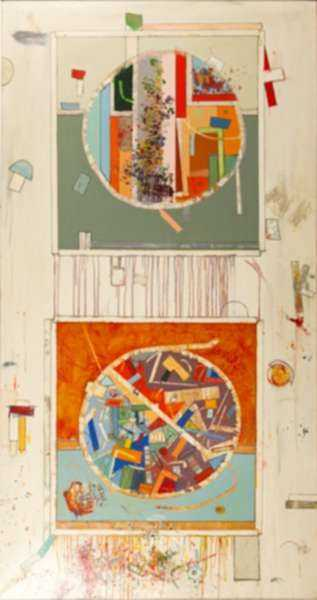 Painting by Robert S. Neuman: Pedazos del Mundo #20, represented by Childs Gallery