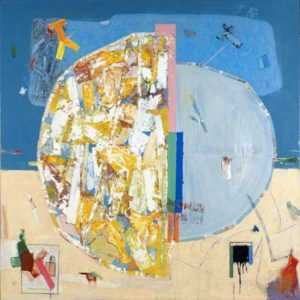 Painting by Robert S. Neuman: Pedazos del Mundo #8, represented by Childs Gallery