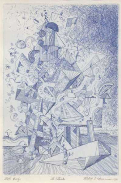 Print by Robert S. Neuman: The Stack, represented by Childs Gallery