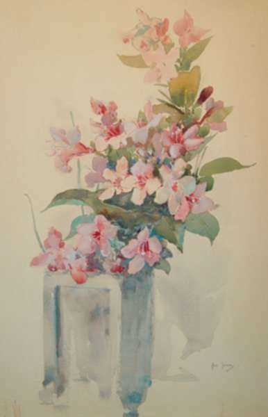 Watercolor by Ross Sterling Turner: Apple Blossoms, represented by Childs Gallery