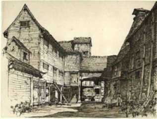 Print by Samuel Chamberlain: A Stable Court in Essex, represented by Childs Gallery