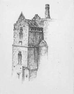 Drawing by Samuel Chamberlain: Burgundy Facade [France], represented by Childs Gallery