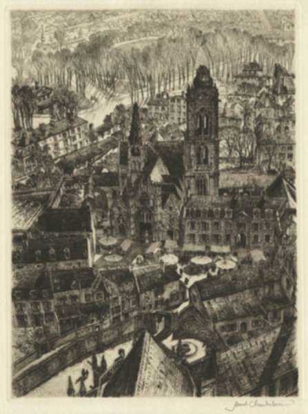 Print by Samuel Chamberlain: Early Morning Market, Senlis (France), represented by Childs Gallery