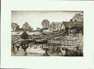 Print by Samuel Chamberlain: Saugus Ironworks [Massachusetts], represented by Childs Gallery