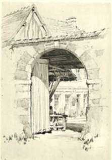 Print by Samuel Chamberlain: The Farin Gate, Virolet, represented by Childs Gallery