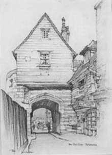 Drawing by Samuel Chamberlain: The Old Gate, Rochester, represented by Childs Gallery